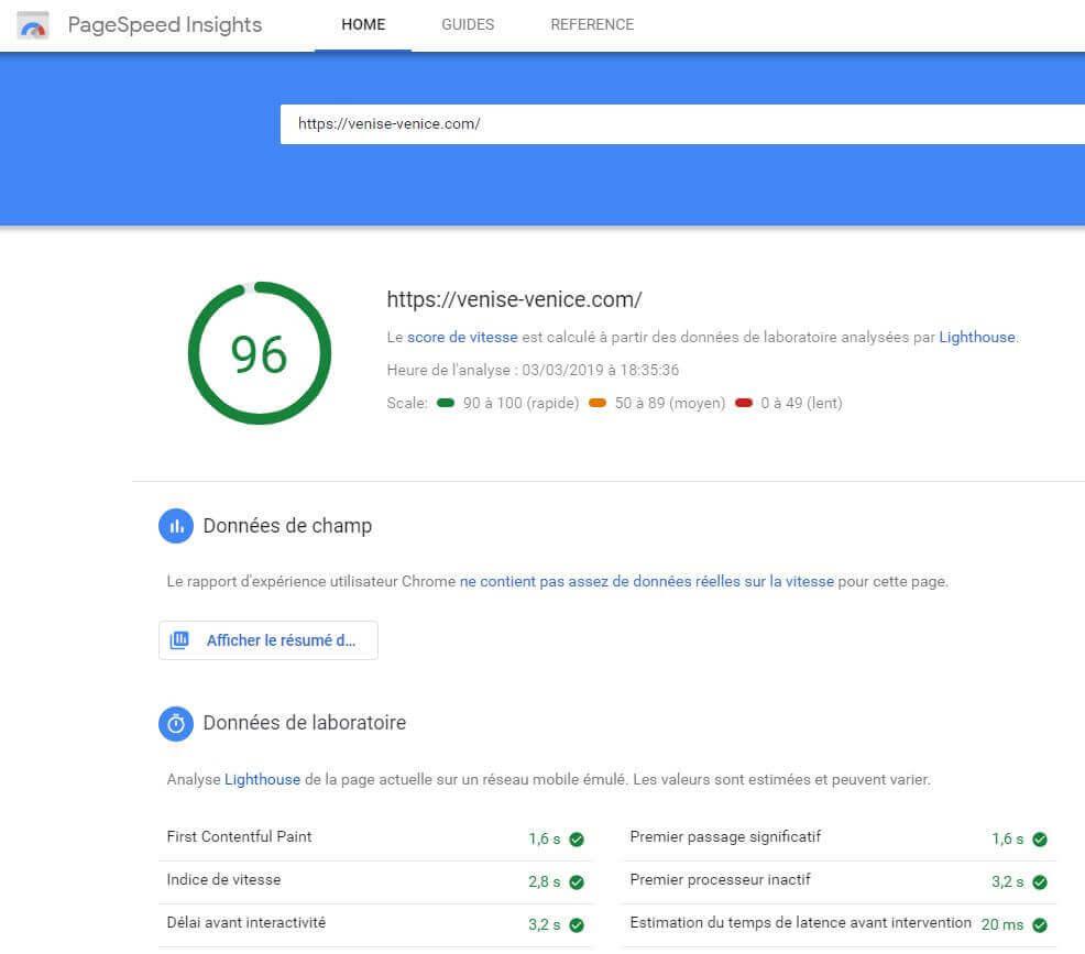 page speed insight affiche un score après avoir testé votre vitesse de téléchargement