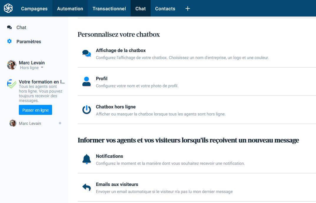 Personnalisation de votre chatbox avec Sendinblue