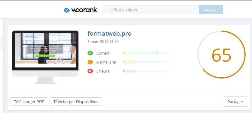 Woorank affiche un compteur avec une note après avoir analyser votre site web
