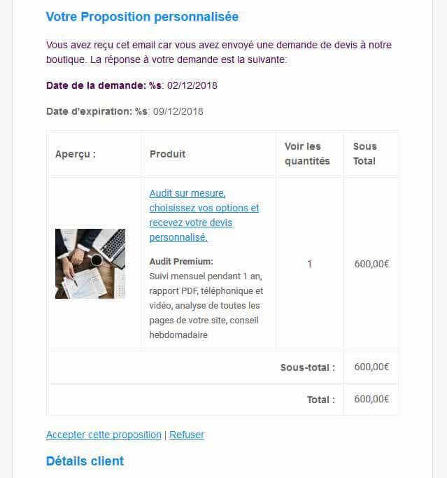 Exemple d'un devis client envoyé par mail