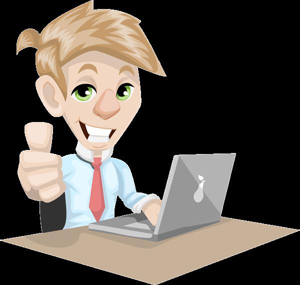 Dessin d'un jeune homme devant son ordinateur portable qui sourit et lève le pouce.