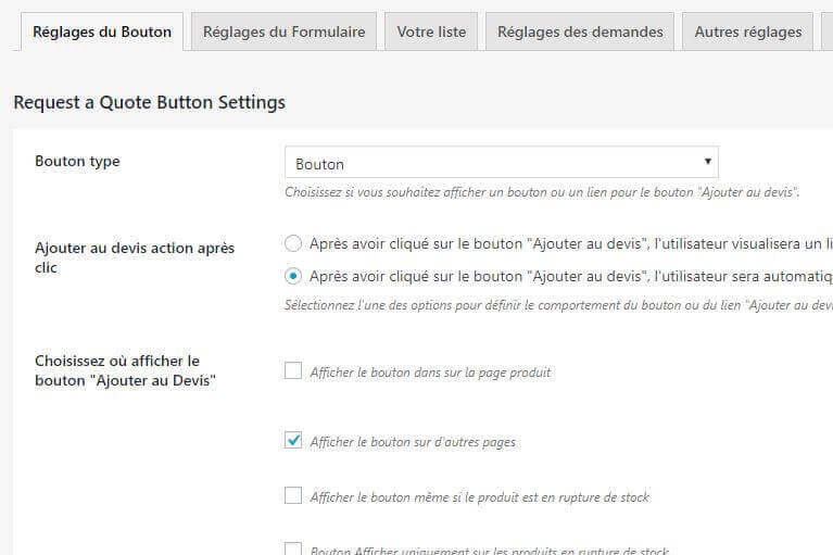 Back-office du plugin Yith Request a quote