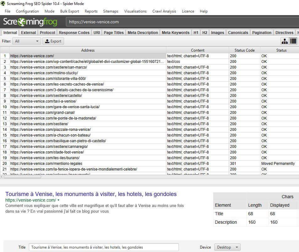 Un extrait du tableau de bord de l'application screaming frog pour analyser votre site internet