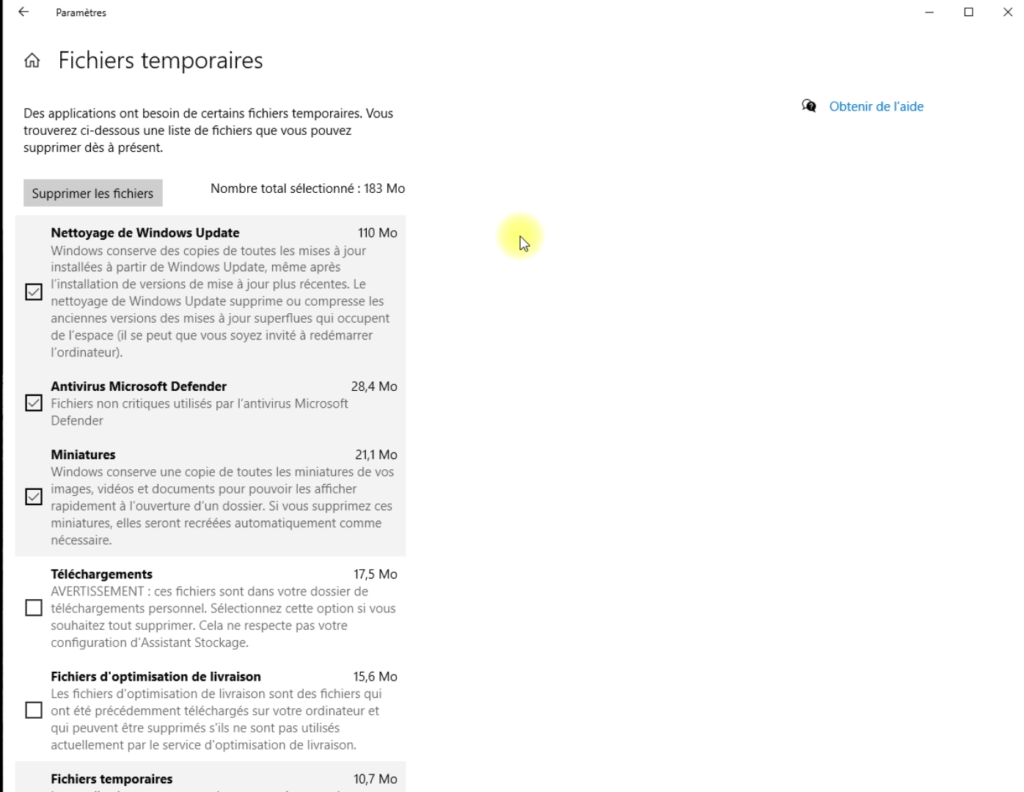 Copie écran, les fichiers temporaires sous Windows 10